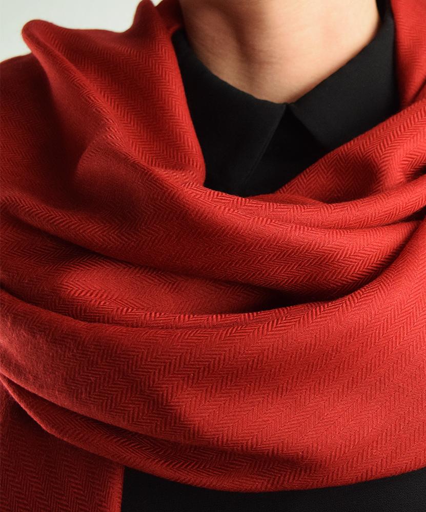 Stola cashmere lana rosso scuro