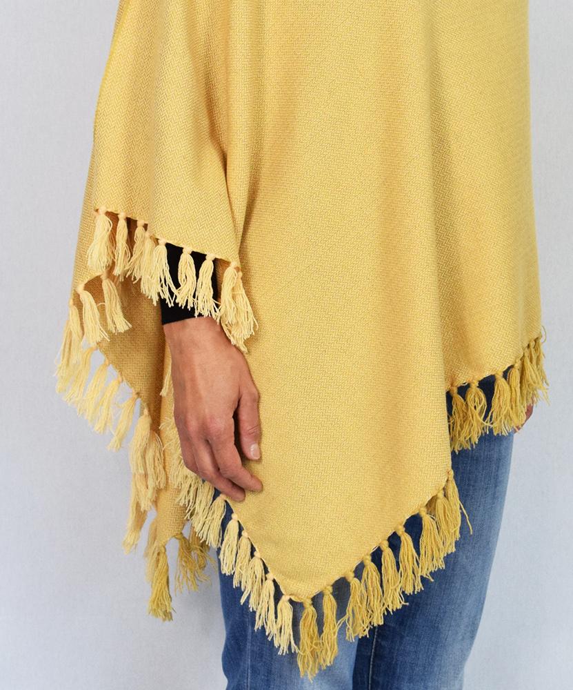 Poncho pura lana variante ocra