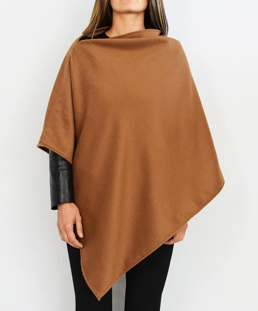 Cappa lunga in puro cashmere cammello