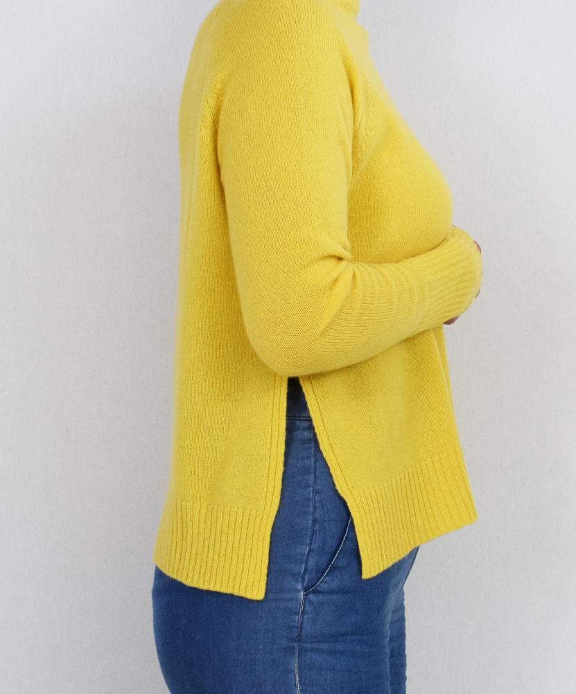 Maglioncino puro cashmere giallo sole